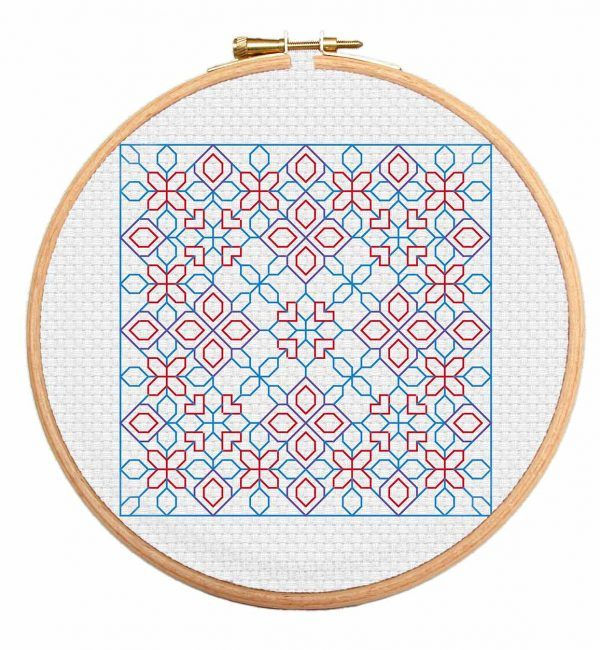 Enter the PetalMatrix Blackwork cross stitch pattern and get lost forever in it's intricate design perfect for beginners.  https://stitchme.gifts/product/petalmatrix-blackwork-cross-stitch-pattern/