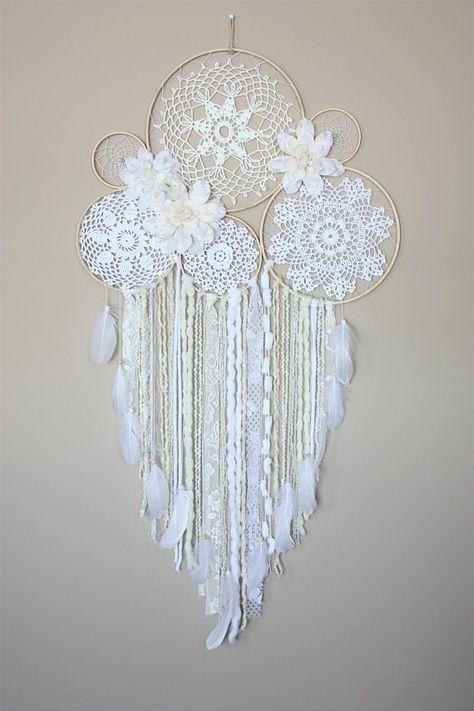 Large Dreamcatcher Wall Hanging-White Cream Dream Catcher-Floral Dream Catcher-Boho Wedding-Bedroom Wall Decor-Doily Dreamcatcher
