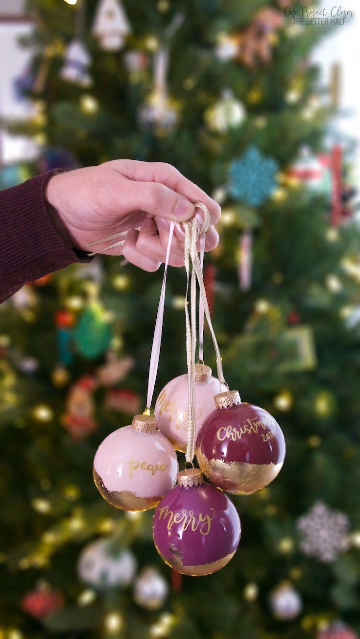 diy hand lettered gold leaf ornaments leaf ornament gold leaf diy letter ornaments pinterest