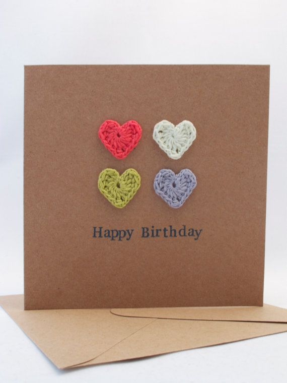 Happy Birthday Card A Crochet Card of 4 Mini by VioletHeartByClare, £3.00