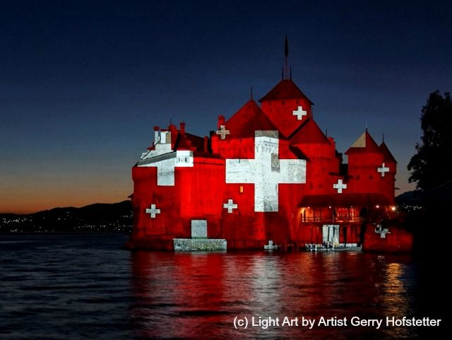 Chateau du Chillon, Montreux - projected light art, for August 1st ~ Swiss National Day