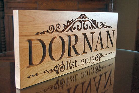 Marriage Sign: Personalized Family Name Sign Anniversary Established Date Carved Wooden Signs Last Name Sign Cherry 9x23 ml
