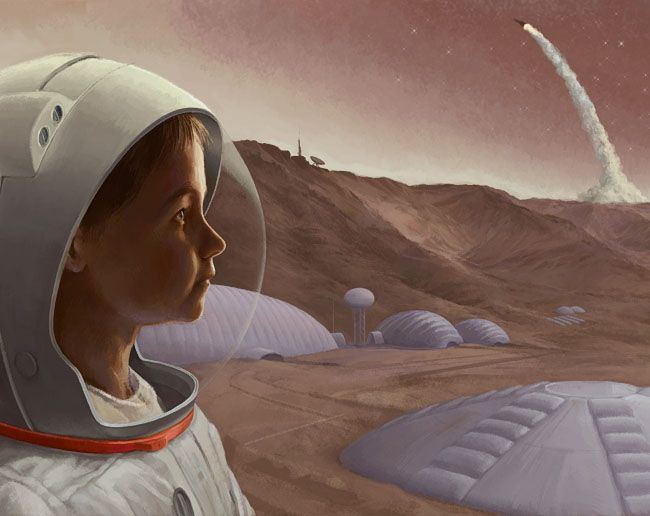 Mars from a Young Perspective by Javier Arizabalo http://www.javierarizabalo.com Category: Martian Settlements First Place Winner, Martian Settlements, 2008 Calendar from the space art contest I organized for National Space Society.  #art #spaceart