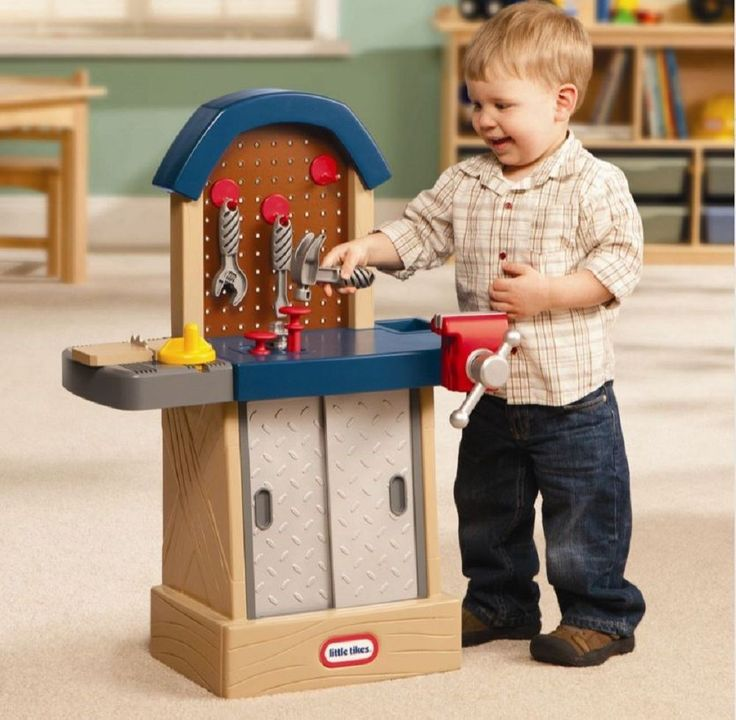 Kid Sized Workbench Kids Tool Bench Tough Workshop Hammer Wrench Saw Play XMAS #LittleTikes