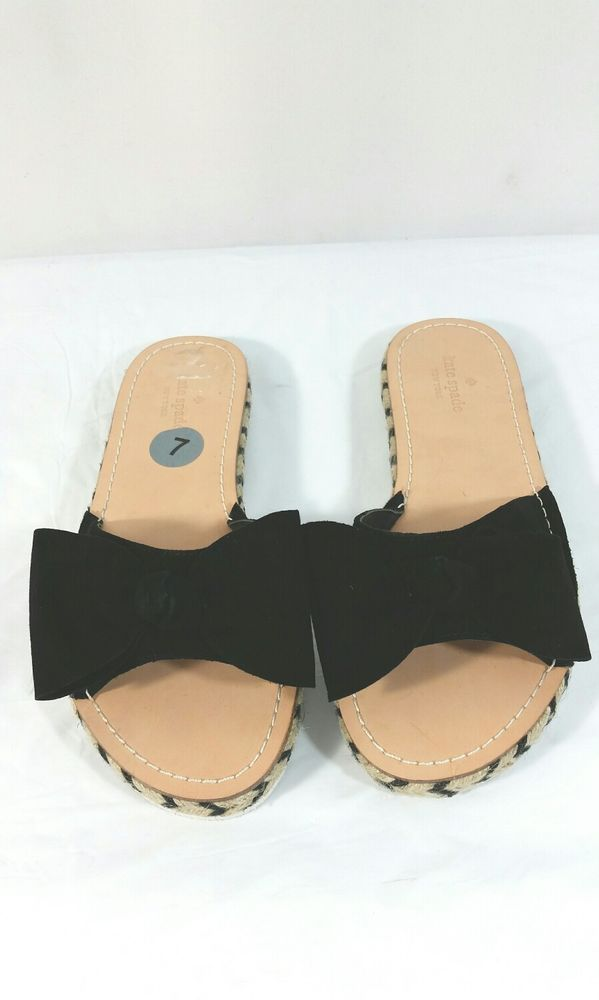 c68558fbbb96 Kate Spade Idalah Black Espadrille Slide Sandal With Bow Womens Size 7   katespadenewyork  Slides  Casual