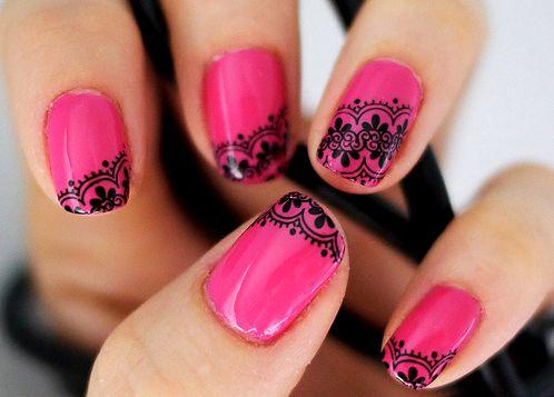 Hot pink & black lace / indian style nails: Nailart, Makeup, Lace Nails, Nail Designs, Black Laces, Naildesign, Pink, Beauty, Nail Art