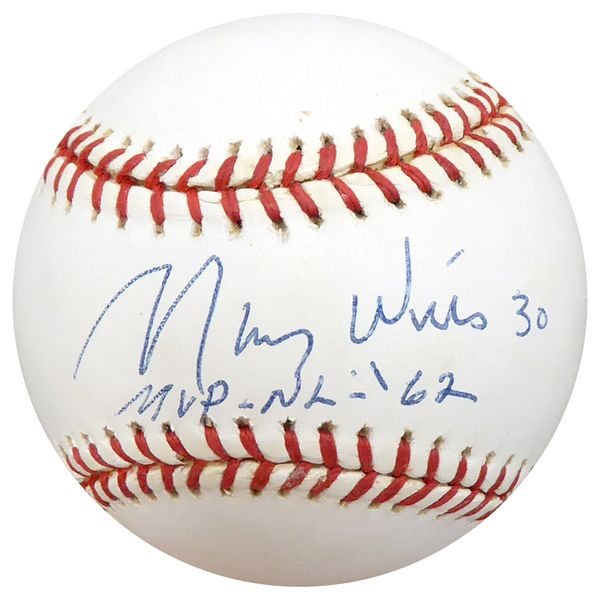 """Maury Wills Autographed Official NL Baseball Los Angeles Dodgers """"""""1962 NL MVP"""""""" Beckett BAS #C71221"""