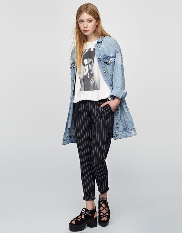 Pinstripe trousers - Trousers - Clothing - Woman - PULL&BEAR Bulgaria