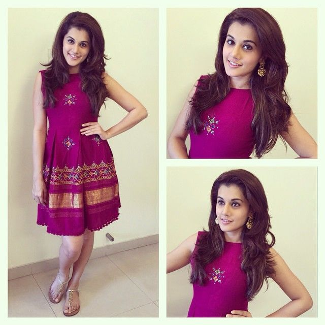 "170 Likes, 7 Comments - Devki B. (@devs213) on Instagram: ""01.30.2015 Taapsee Pannu. Follo App Times Live Chat. Wearing dress by Mogra. Earrings by…"""