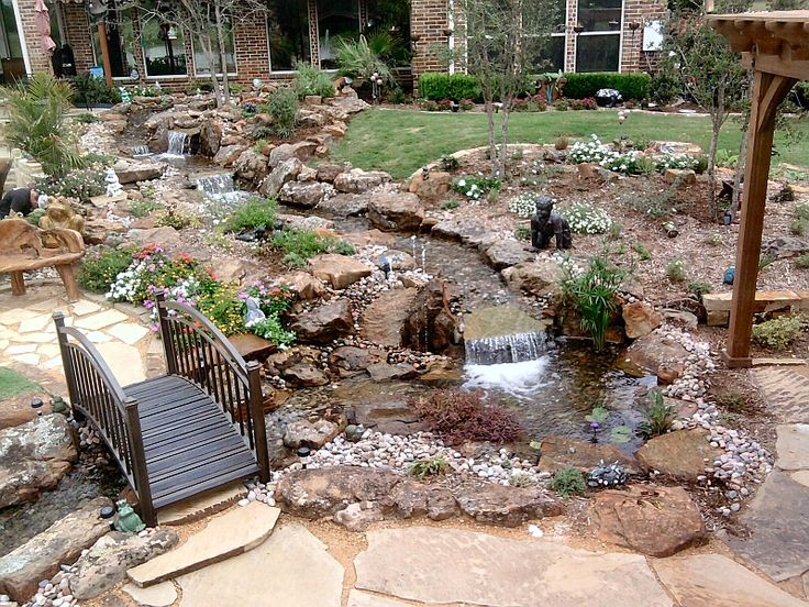 Attrayant Beautiful Backyard Waterfall Design With Gazebo, Stream And Walking Bridge.