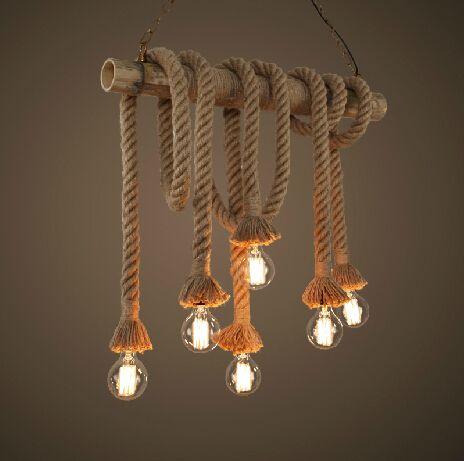 Loft American Country DIY Rope Bamboo Vintage Pendant Lights lustres de sala Industrial Lighting pendente de teto luminarias(China (Mainland))