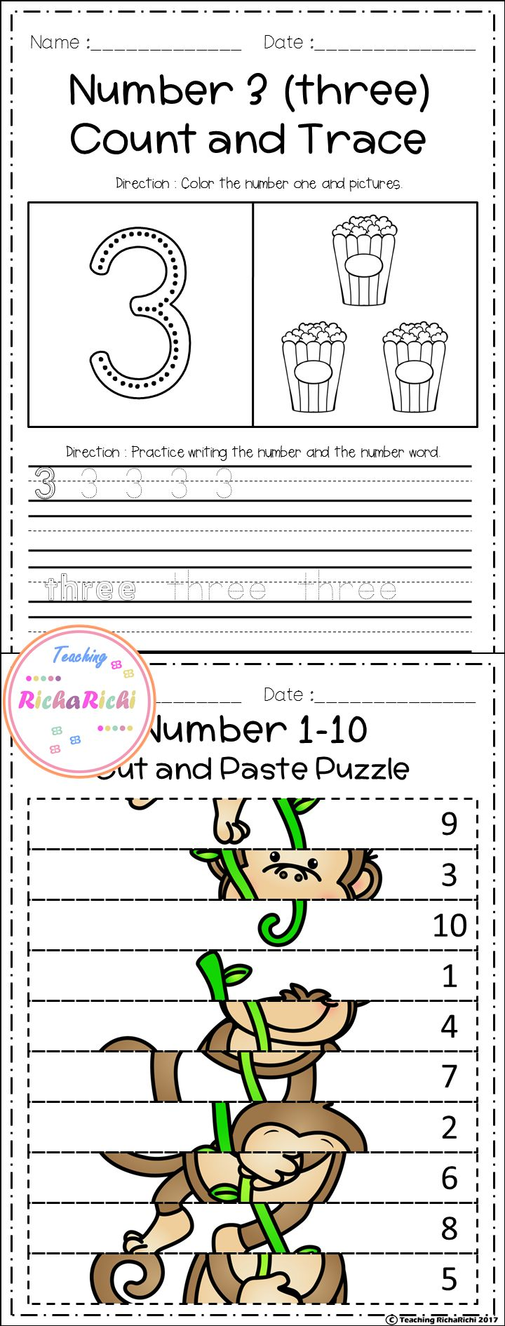 Freebies, FREE number fluency 1-10 for prek and kindergarten activities.