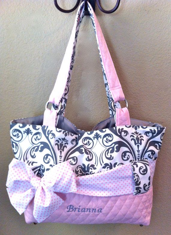 Best 25 personalized diaper bags ideas on pinterest baby girl 3 piece personalized diaper bag set in pink grey by ceejaze negle Image collections