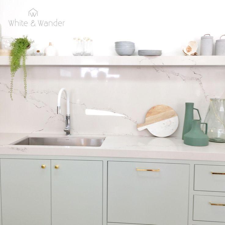Threebirdsrenovation mint green kitchen perfection with white tapware