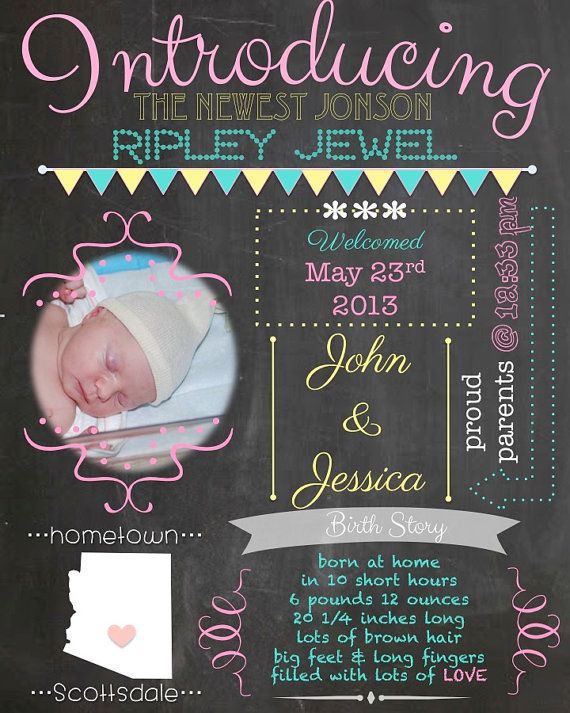 17 Best images about Baby shower – Chalkboard Birth Announcement