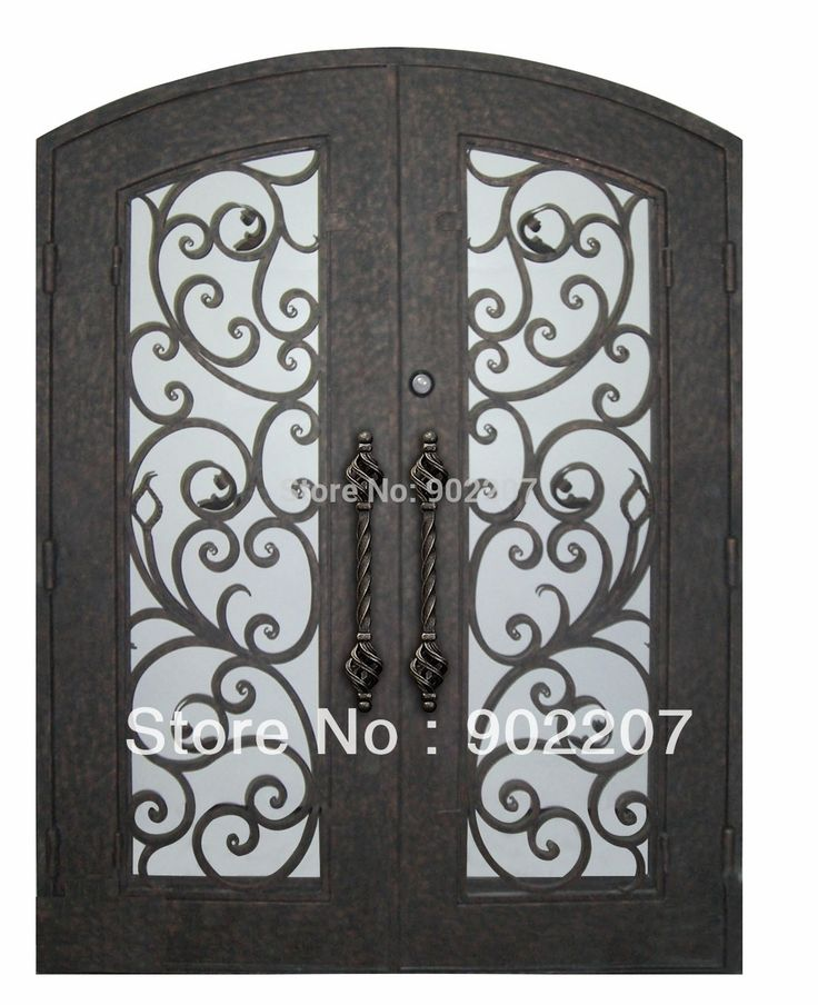 "iron doors 22 72""x96"" wrought iron doors 8mm clear glass+ 12 gauge steel +8mm rain glass fixed shipping USA home address $3600"