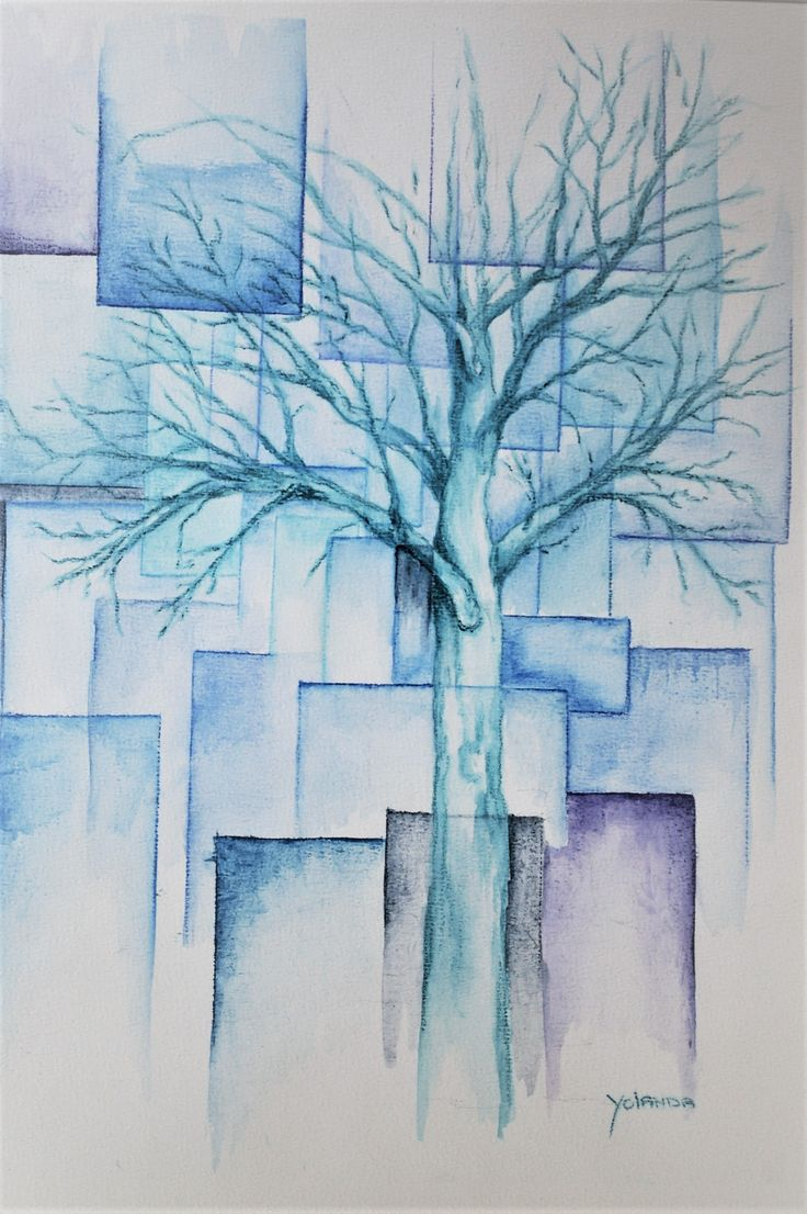Blauwe boom - aquarel potlood.