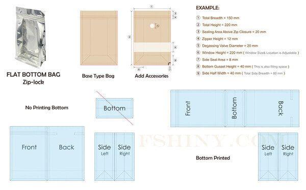 Download Flat Bottom Bags Zip Lock Dieline Pouch Packaging Templates