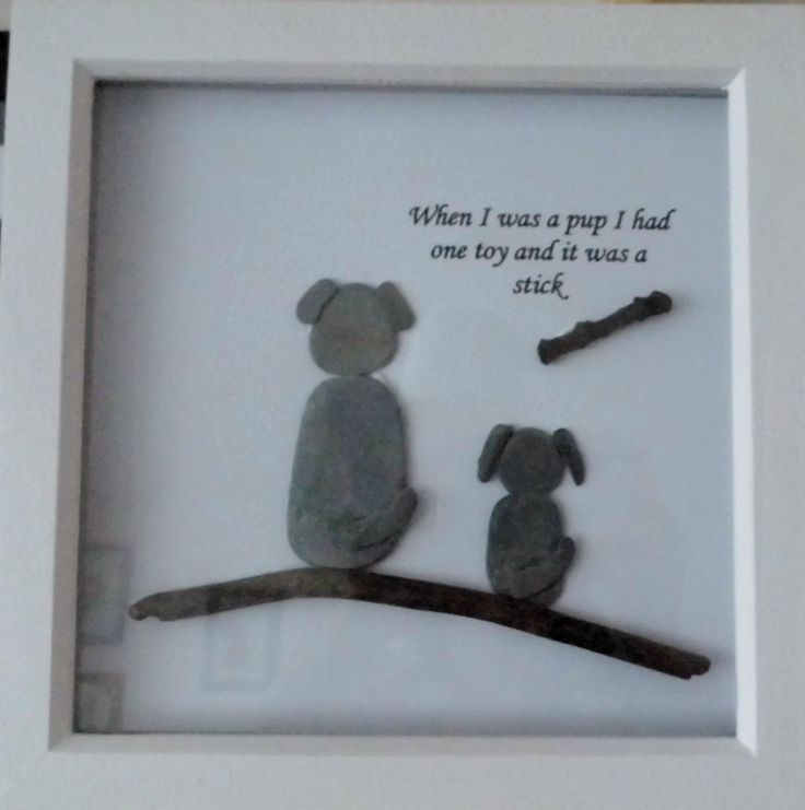 3D Shadow Box Picture: Driftwood, Pebbles, Quote, Dog ...