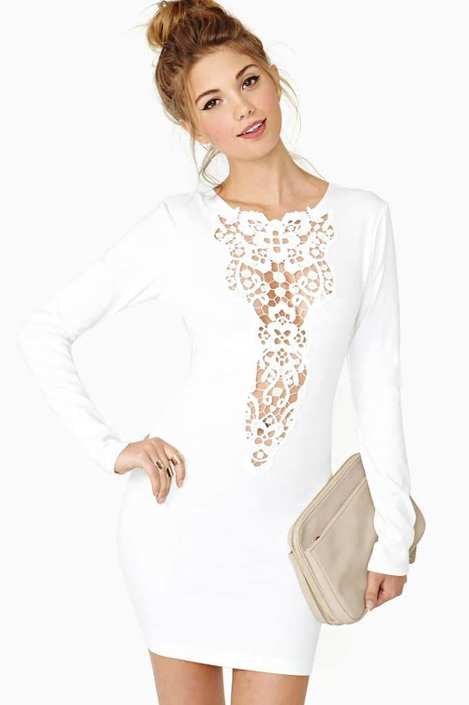 Dream Springs Dress. love it. white dress with a plunging crochet neckline.