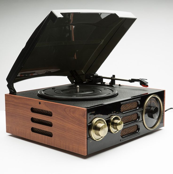Classic Wooden Record Player and Radio
