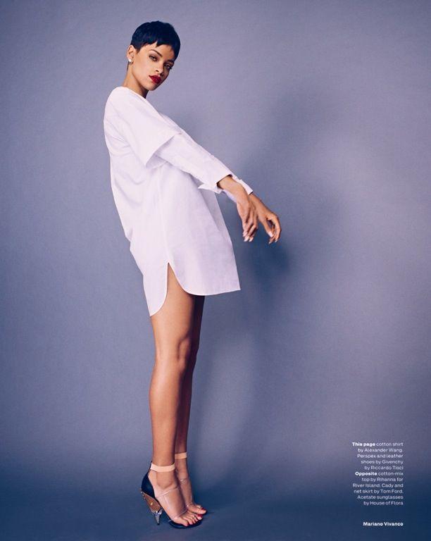 Rihanna wears an oversized white dress shirt in Elle UK April 2013, shot by Mariano Vivanco.