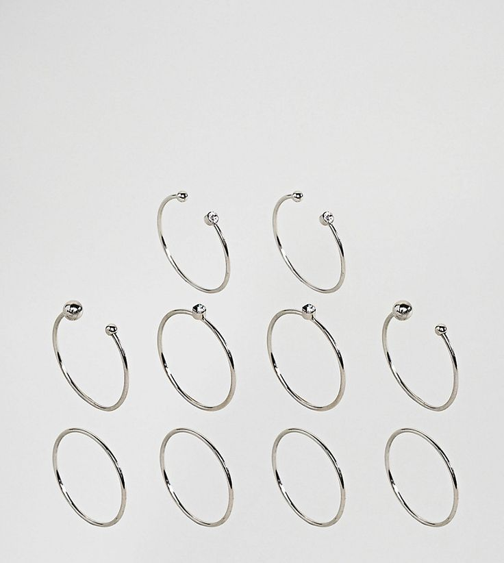 ASOS CURVE Exclusive Pack of 10 Open Ball and Crystal Detail Rings - S