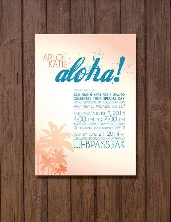 Printable Hawaiian Themed Wedding Reception Invitation Aloha Receptions