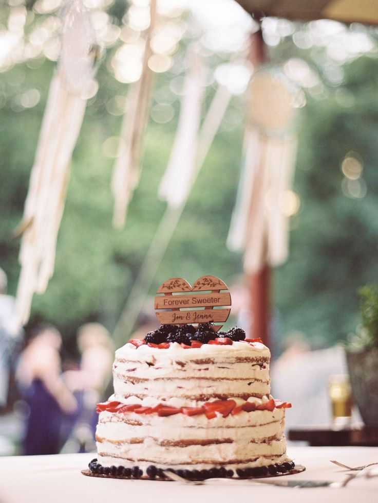 """After dinner, Jenna and Jon treated their guests to a slice of naked cake with fresh berries and an assortment of from-scratch pies. """"For dessert, we got together with Jim who owns our favorite bagel place in Gloucester,"""" Jenna says. """"We go almost every Sunday for coffee and bagels."""""""