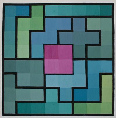 Tavola di pentamini con colori freddi e contrasti caldi al centro. Tutte le forme dei pentamini sono contornate di nero.