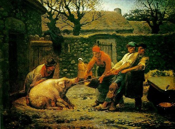 <돼지를 잡는 사람들, 밀레>   자신의 운명을 알고 있는 것일까. 사람들 손에 끌려가는 돼지의 모습이 가여워 보이기만 하다. 살이 오를 만큼 오른 돼지는 곧 제사단 위에 올라가 불에 태워질 것이다. 태워진 고기는 사람들의 몫이다.