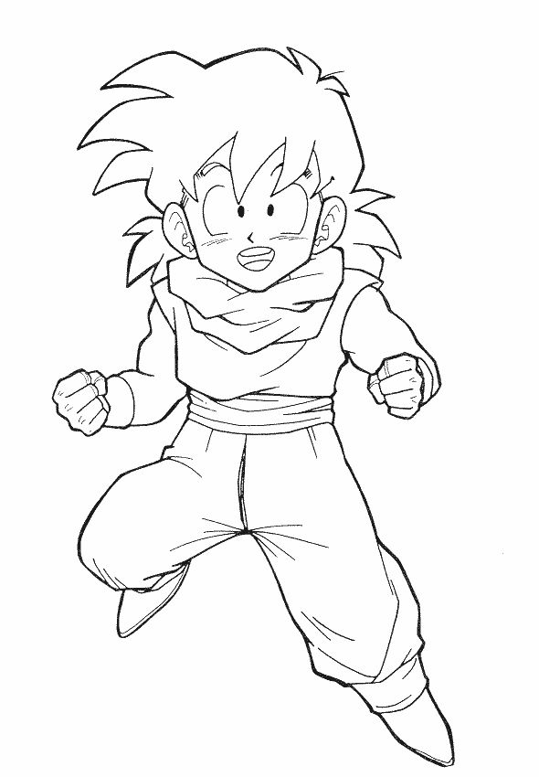 Dragon Ball Z Son Gohan Still Children Coloring Pages For Kids Printable