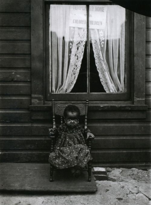 """Lewis Wickes Hine, A young orphan girl, Washington, DC, USA, 1906. Sign in window says """"Temporary Home for Colored Children""""  - I just want to scoop her up - so sweet"""