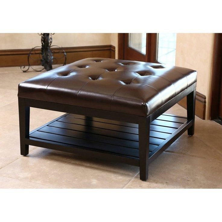 abbyson living villagio tufted leather square coffee table ottoman dark brown ottomans at hayneedle - Brown Leather Ottoman