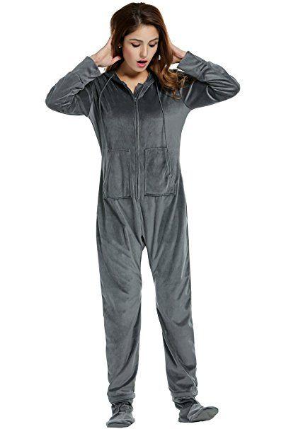 a3b097db19843b HOTOUCH Damen Fleece Strampelanzug Onesie Schlafanzug Kapuzen-Footed  Jumpsuit Erwachsenenstrampler Pyjama: - pyjama pyjamas f… | Ladies  Nightware Style in ...