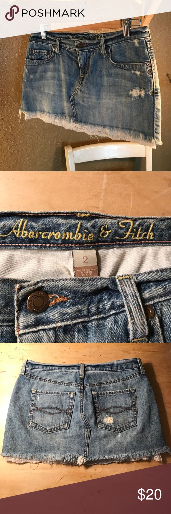Women's size 2 Abercrombie and fitch jean skirt Like new condition! Size 2, jean skirt with lace bottom, super cute! No damage or signs of wear! From Abercrombie and Fitch! Abercrombie & Fitch Skirts