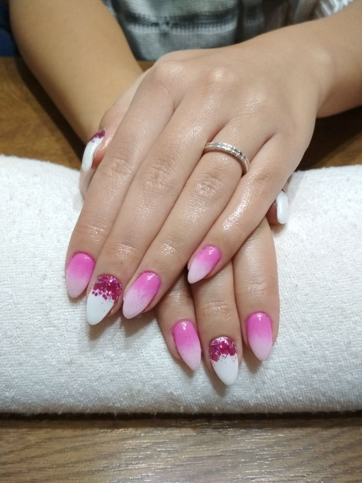 pink ombre, white gel and pink glitter