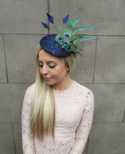 Large Navy Blue Green Peacock Feather Hat Fascinator Headband Races Hair  5319 02fdc9087a5