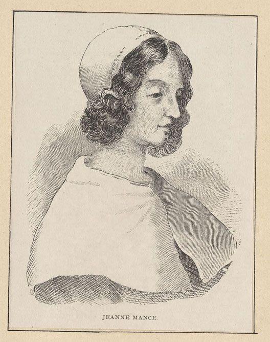 Jeanne Mance (1606 – 1673-06-18). Le 17 mai 1642, Maisonneuve, Jeanne Mance et leur groupe ont pris possession de l'île de Montréal et y ont fondé Ville-Marie. Elle conseillait le gouverneur, le sieur de Maisonneuve, en plus d'œuvrer à la fondation de l'Hôtel-Dieu de Montréal. Outre les malades, elle a soigné les blessés des affrontements avec les Iroquois. Elle est considérée comme la première infirmière laïque au Canada. Image : Bibliothèque et Archives Canada - Domaine public #patrimoine