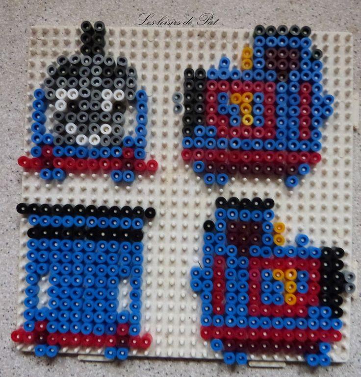 """Un modèle en 3D, du dessin animé """"Thomas le petit train"""", trouvé sur un site japonais, que j'ai eu envie d'essayer Pour réaliser ce modèle, il vous faut 1 grande plaque carrée Sympa, je pense faire bientôt les 2 autres wagons."""