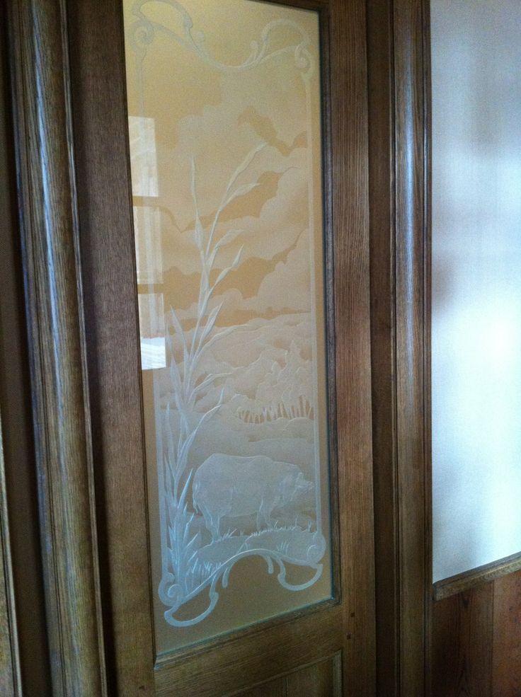 Custom Etched Glass Pantry Door