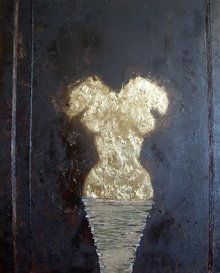 GENESE  Disponible  Tableau unique format 100x73cm peint en 2008  Technique : Peinture à l'acrylique et utilisation de feuilles d'or et raphia synthétique  La toile est montée sur châssis bois et protégée par un vernis afin de donner une très bonne longévité.