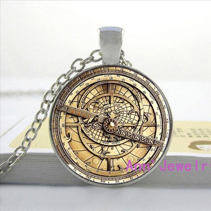 W-0150 steampunk drama cae misterios factura cifrado rueda de cristal de cristal colgante de collar de doctor who hombres astrolabio para mujer