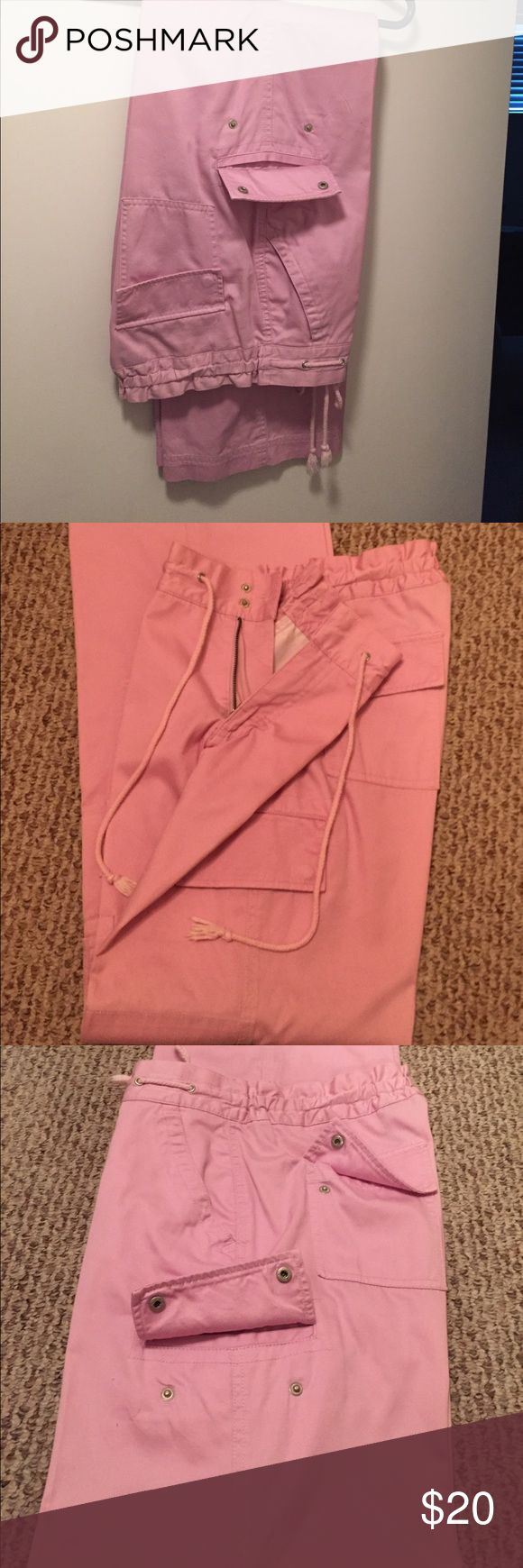 """THE """"CARMEN FIT"""" LADIES CARGO PANTS 🔥🔥🔥. BUNDLE WITH RALPH LAUREN LAVENDER SHOES AND GET BOTH FOR $40.00. 🔥🔥THE """"CARMEN FIT"""" LADIES CARGO PANTS WITH STRETCHABLE WAIST WITH ZIPPER FRONT AND SNAP CLOSURE WITH TIE.  PANTS HAVE SIDE POCKETS WITH 3 SNAP POCKETS ON EACH LEG AND ONE SNAP POCKET ON EACH SIDE IN BACK. LIGHT LAVENDER. SZ 4.....IF BOUGHT WITH RALPH LAUREN SHOES IN SAME COLOR....PRICE IS $40 FOR BOTH!!!🔥🔥🔥🔥 THE CARMEN FIT Pants Trousers"""