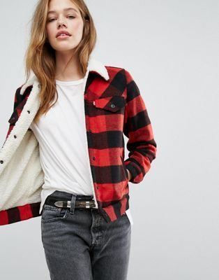 Levi's Check Trucker Jacket with Borg Collar