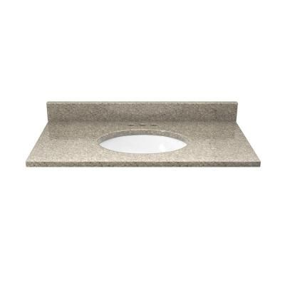 Solieque 31 in. Quartz Vanity Top in Sand Staccato with White Basin