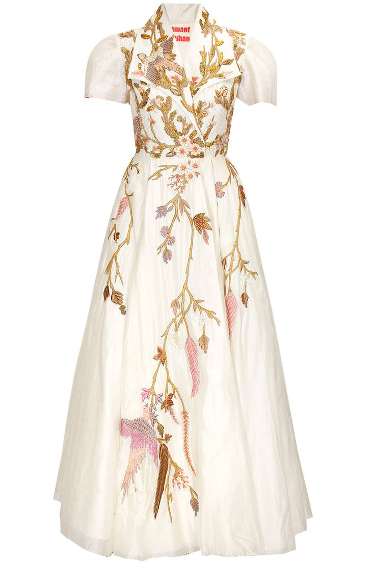 Off white bird embroidered translucent gown by Samant Chauhan. Shop now: http://www.perniaspopupshop.com/designers/samant-chauhan #gown #samantchauhan #shopnow #perniaspopupshop