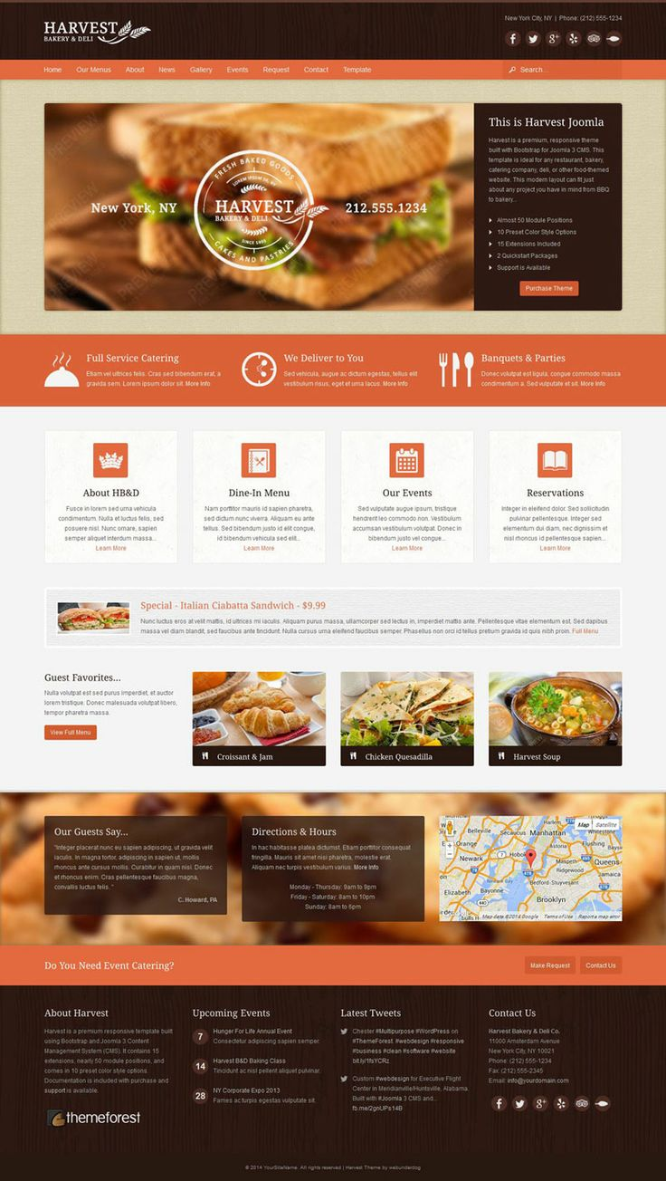 Harvest #responsive #Joomla #Restaurant & #Food Template on #Themeforest. #webdesign #inspiration #cms #bakery #cafe #wood #bistro #coffee #catering #bbq