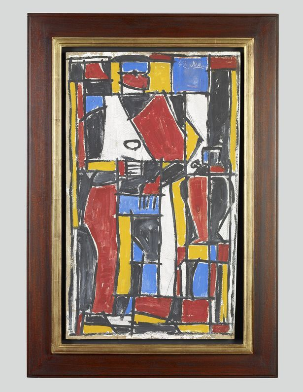 Julio Alpuy Tacuarembó, Constructive Man, 1948, oil on board, 22 x 13 in. (55.9 x 33 cm) frame: 28 1/4 x 19 1/2 in. (71.8 x 49.5 cm) © 2014 Artists Rights Society (ARS), New York / AGADU, Uruguay