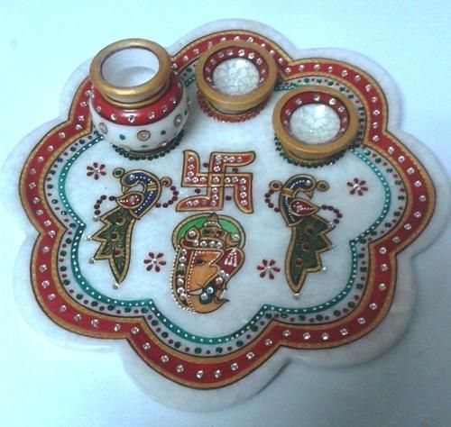 315 best pooja thali images on pinterest marble marbles for Aarti dish decoration